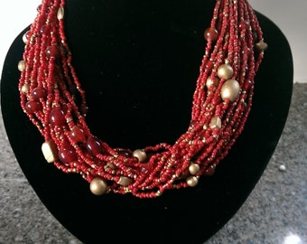 20% OFF 1950s Red and Gold Multi Stand Bead Necklace
