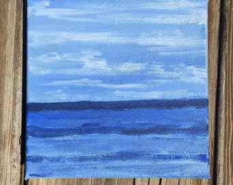 Blue. Original 4x4 acrylic painting,  beach scene painting