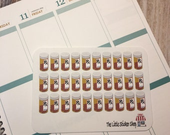 30 Pill bottle stickers for your Life Planner. Removable