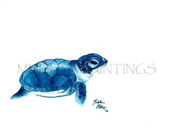 Blue Turtle watercolor print