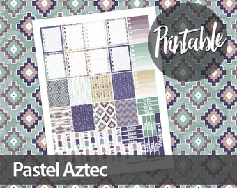 50% off! Pastel Aztec Weekly Kit - Erin Condren Printable Planner Sticker - Ombre To Do Lists, checkboxes, washi and weekend