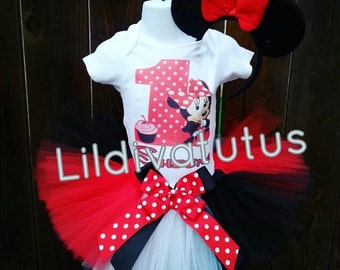 Handmade Minnie mouse first birthday tutu set.