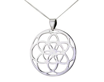 Flower Of Life  Pendant, 925 Sterling Silver Necklace, Airy Flower of Life Necklace, Handmade Necklace Gift, Women Silver Necklace