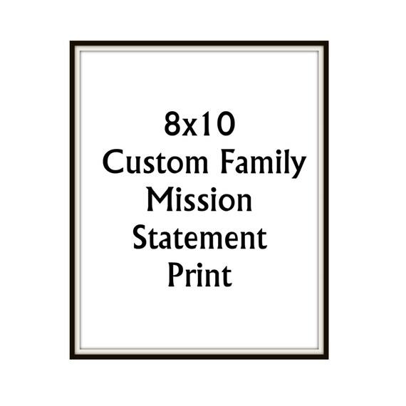 8x10 Custom Family Mission Motto Statement Print