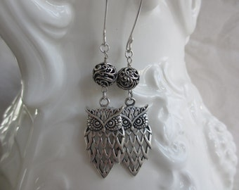 Sterling Silver Love of Owls Dangle Earrings
