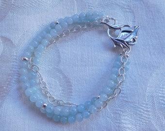 Sterling Silver Aquamarine Leaf Handmade Bracelet