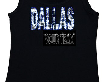 Dallas Bling Tank Top sequins Shirt No Rhinestones