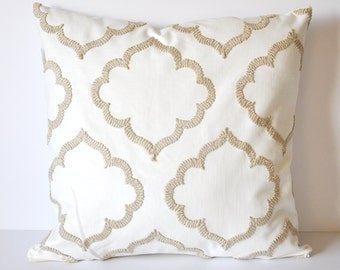 MOROCCAN PILLOW COVER // White and Tan Embroidered Pillow Cover, White Pillow, Cushion cover
