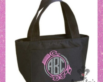 Insulated Cooler Tote *Hair Dresser Monogram* Scissors Comb Glitter
