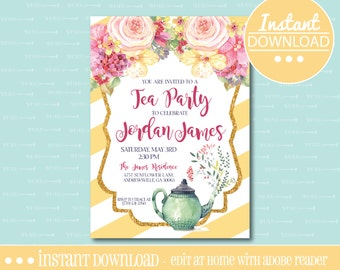 Tea Party Birthday Invitation - Yellow - EDITABLE - INSTANT DOWNLOAD - Editable File - Customize - Edit Yourself with Adobe Reader-Printable