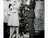 Family Christmas Vintage Snapshot 1930's 1940's 1950's