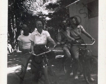 Vintage Snapshot - 1940's 1950's - Bicycle Outing - Men and Women Tandem