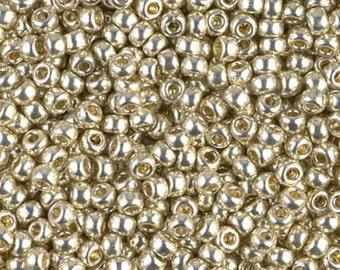 8/0 Duracoat Galvanized Silver D4201 - Miyuki Round Seed Bead 10g