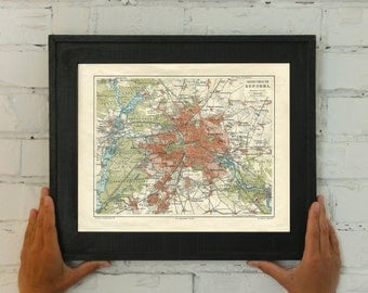 Old map of Berlin and surroundings, Germany 1901. Vintage map reproduction