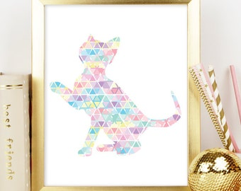 Kitten Print, Geometric prints, Cat decor, Poster, Printable Art, Kitten Print, Nursery Decor, Nursery Print, Instant Download, Wall Decor