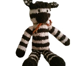 Handknit Zebra Toy: Natural Wool, Child Safe, Washable, Durable