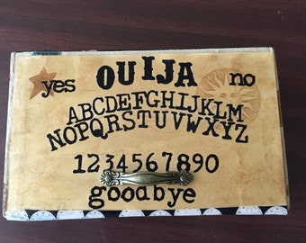 Vintage altered cigar box,  old wooden cigar box upcycled to resemble a Ouijia board.