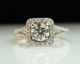 1 ct Square Halo Solitaire Diamond Engagement Ring set in 18k White Gold- 88 round Brilliant Cut Accent Diamonds