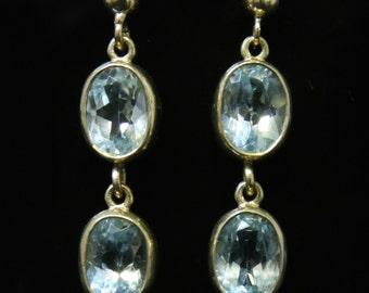Blue Topaz Gold Earrings Double Drops 9ct Gold