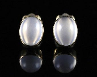 Moonstone Gold Stud Earrings Beautiful Moonstones 9ct Gold