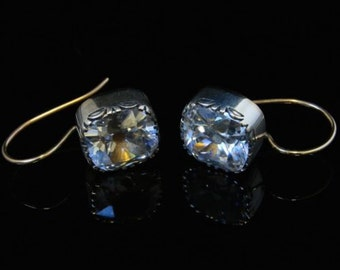 Antique Georgian 10ct Old Cut Paste Solitaire Gold Earrings