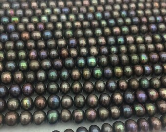 7.5-8.5mm AAAA Peacock Color Button Round Loose Pearl Strand, Top Quality Multi-color Bread Round Freshwater Pearl Strand, Flat Pearl Strand