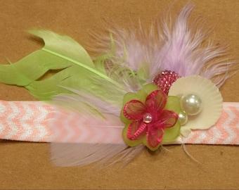 Seashell Baby Headband with Pink Band, Pink Gem