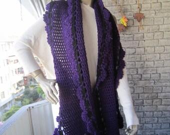 Purple Crochet shawl scarf, women scarves, women accessories