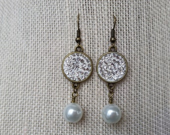 White Pave and Pearl Earrings
