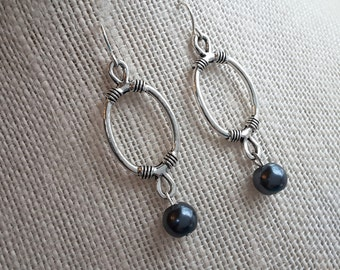 Silver Ovals and Granite Pearls. Earrings.