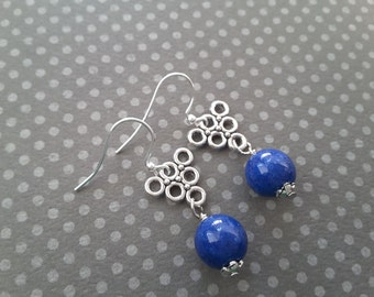 Silver Triangles  and Blue Jade . Earrings
