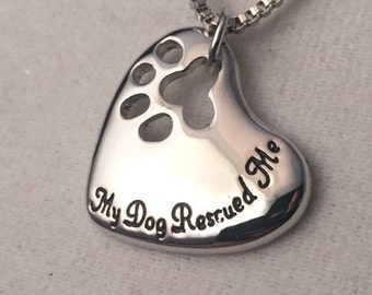 My dog rescued me! Silver necklace