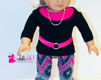 American made Girl Doll Clothes, 18 inch Girl Doll Clothing, Top, Tank, Aztec Inspired Leggings made to fit like American girl doll clothes