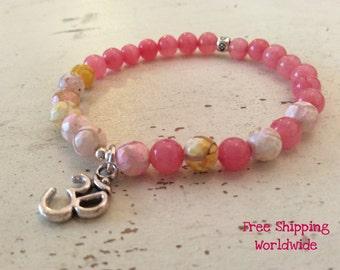Pink Mala Bracelet, Pink Yoga Bracelet, Pink Agate Beads Bracelet, OM Silver Bracelet, Pink Jade Bracelet, Colorful Gemstone Bracelet, Love