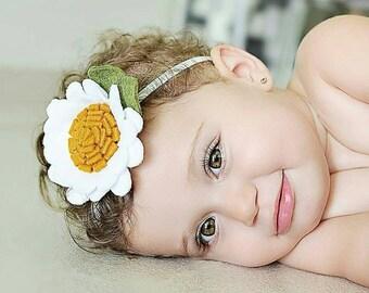 Daisy | Felt Daisy - Large Daisy - Floral Daisy - Daisy Hair Clip - Baby Girl Headband - Baby Shower Gift