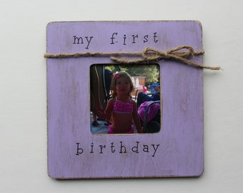 First Birthday Frame, Lavender Picture Frame, Rustic Picture Frame