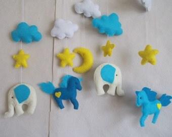 Baby crib mobile Elephant -Unicorn mobile -baby mobile-nursery mobile-baby kit mobile-mobile handing-baby bedding-felt kit from felt