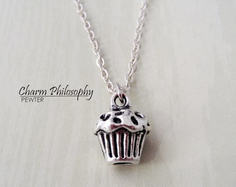 Cupcake Necklace - Small 3D Muffin Necklace -  Antique Silver Jewelry
