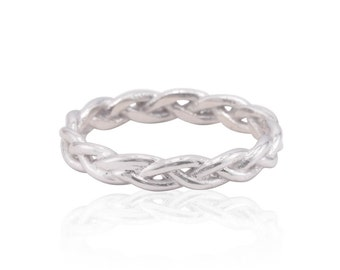 Braided Ring - 25% off - OR BEST OFFER - Braided Wedding Band in Solid 14k White Gold - On Sale from Laurie Sarah - LS4348