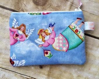 Coin purse /coin pouch/ small zipper pouch/ garden angels