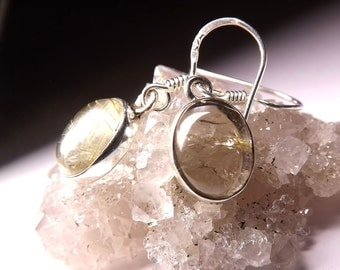 Natural Rutile Quartz Silver earrings