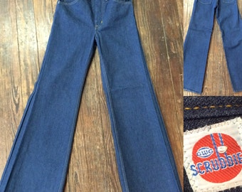 """vintage NOS GWG """"scrubbies"""" flared bell bottom womans jeans"""