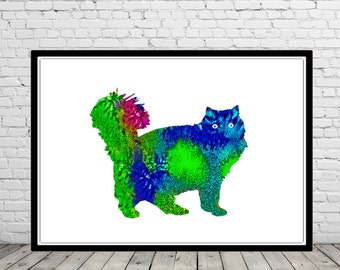 Persian cat, Cat, cat print, ,watercolor print, animal painting, cat, animal art,  (1644b)