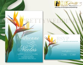 Beach Wedding Bird of Paradise Invitation & RSVP card Tropical Exotic Flowers - PRINTABLE File - Style Name: ADRIENNE