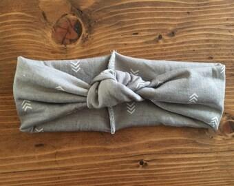 Grey Top Knot Headband, Baby Head Wraps, Grey Arrow, Baby headband, toddler headband, Grey Headband, Too Knot Turban