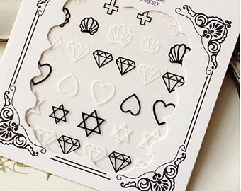 Nail Sticker , Nail Deco Nail Art , Nail decoration , heart diamond nails sticker .