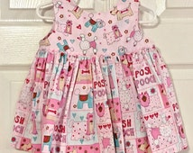Girl's Wrap Around Dress with Poodles | Size 6-9 months | Cotton dress | Twirly dress | Sun dress with poodles