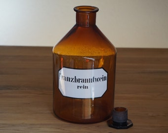 Large vintage apothecary bottle with label, 1950s