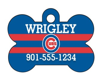 Chicago Cubs Personalized Dog Tag Pet Id Tag w/ Your Pet's Name and Number