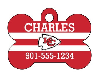 Kansas City Chiefs Personalized Pet Id Dog Tag w/ Your Pet's Name and Number